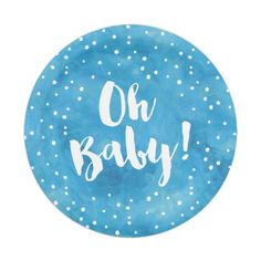 Oh Baby Blue Watercolor Baby Shower Paper Plate