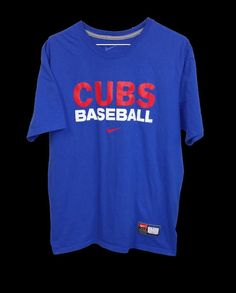Nike Team Mens Chicago Cubs Blue 100% Cotton Short Sleeve T Shirt Large L #Nike #GraphicTee