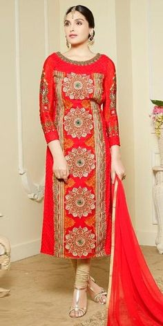 Cheerful Red And Orange Georgette Straight Suit.