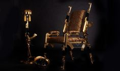 Artist Rainier Weber Designs Unique Gold-Plated Chair From Real Rifles Luxury Furniture, Contemporary Furniture, Furniture Design, Copper And Brass, Plaque, Revolver, Decoration, Decorative Items, Outdoor Chairs