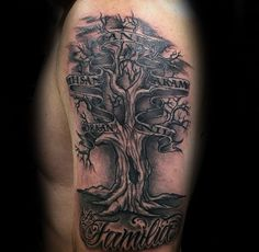 Gentleman Mit Family Tree Tattoo mit Namen in der Banner