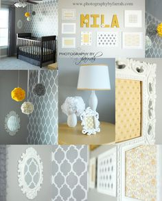 gorgeous nursery, gray stenciled wall, with nice pops of yellow. framed scrapbooking paper.