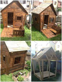 Ma fille désirais une cabane et voilà le projet du début à la fin, réalisée en palettes recyclées.