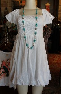 White Eyelet Balloon Hem Dress - Pistols and Pearls - Cute Dresses, Tops