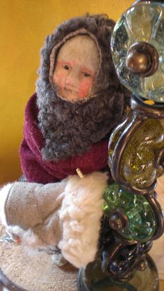 Work in process. Little Wintergirl in Papermache and mixed media