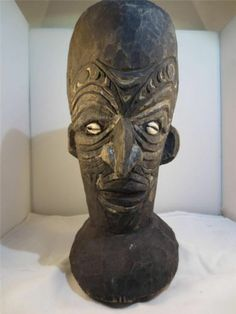 """AFRICAN MAN TRIBAL ART, CARVED WOOD Sculpture Bust Black Ethnic Decorations 12"""""""