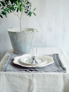 Description Hygge Finca Mule Floppy Washed LinenColor/GreyFabric width: cloth: LinenSuitability: Soft furnishings, curtains, blinds, frilly c Linen Tablecloth, Table Linens, Hygge, White Haven, Napkins Set, Home Decor Kitchen, Soft Furnishings, Country Decor, Linen Fabric
