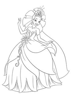 Princess Tiana And The Frog Prince Ready To Marry Coloring Pages