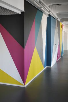 wall graphics. - like the geometry and colours, cmyk'ish?? - Keri