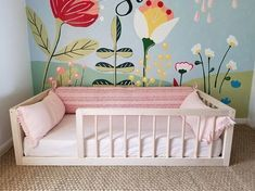 Floor Bed With Rails Toddler, Twin, Full Floor Crib Hardwood - Kinderzimmer - Baby Bedroom, Girls Bedroom, Bedroom Ideas, Nursery Ideas, Budget Bedroom, Master Bedroom, Toddler Rooms, Toddler Bed, Montessori Bedroom