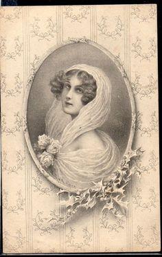 ~FE150 MM VIENNE a/s WICHERA Portrait de FEMME MEDAILLON HOUX TAPISSERIE~
