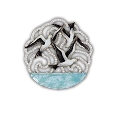 the Seagull pendant by Ilgiz F features the Russian jeweller's trademark enamel set with aquamarines and diamonds