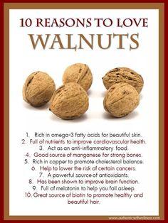 10 Reasons to Eat Walnuts Health Benefits Of Walnuts, Walnuts Nutrition, Nutrition Tips, Health And Nutrition, Walnut Benefits, Health Diet, Brain Health, Health Facts, Anti Inflammatory Recipes