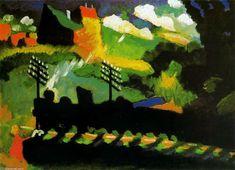 Trein te Murnau - Kandinsky (1909). Donker - licht contrast. Eén van eerste werken. Kleurcontrasten.