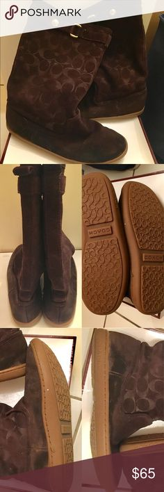 """Coach boots Maressa 12cm Brown suede boots. Approx shaft height 11.5"""". No damages. Good condition. Some wear/C emblem rub off. [See pics for details]. Super comfy! Great pair of winter boots. Wore them to Iceland everywhere and did not get wet inside the shoe. Offers welcome! :) Coach Shoes"""