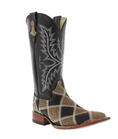 """Ferrini Women's 12"""" Black Brown Patchwork Wide Square Toe Western Boots"""