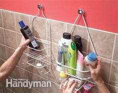 His-and-hers shower shelves:  Photo 1:  Hang shower shelves from cabinet knobs.  DETAILS:  If you need more than shampoo and a bar of soap in the shower, here's how to provide space for all your vital beauty potions: Get a couple of those shelves that are designed to hang from a shower arm and hang them on cabinet knobs. Use No. 8-32 hanger screws ($1) to screw the knobs into studs or drywall anchors.