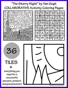 36 tiles for your students to design everything you need for a successful process, product and presentation. Final artwork measures 45 x Starry Night, collaborative project, Vincent Van Gogh. Collaborative Art Projects For Kids, Group Art Projects, School Art Projects, Inspiration Drawing, Van Gogh Art, Art Worksheets, Art Lessons Elementary, Art Graphique, Art Lesson Plans