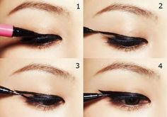 liquid liner, also a good technique for monolids and hooded eyes.