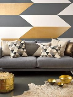 Love the Geometric in this living room, so contemporary, espcially the colour combination and metallic copper