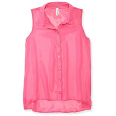 Aeropostale Sheer Solid Chiffon Woven Tank ($16) ❤ liked on Polyvore featuring tops, shirts, tank tops, blouses, pink force, woven shirt, chiffon tank, aeropostale shirts, chiffon shirt and see through tank top