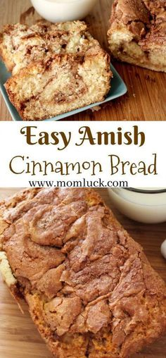 Delicious Moist Sweet Dessert Easy Amish Cinnamon Bread Recipe and Amish Cinnamon Bread Print Out. Super Easy to Make. No kneading involved you just mix and pour into a loaf pan. Dessert Simple, Quick Bread Recipes, Baking Recipes, Amish Sweet Bread Recipe, Cinnamon Amish Bread, Amish Food Recipes, Cinnamon Recipes, Cinnamon Rolls, Starter Recipes