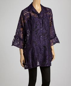 Take a look at this Purple Floral Swirl Button-Up - Women & Plus by Come N See on #zulily today! $40 !!
