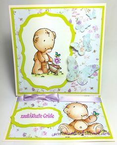 """Teddys Best Friend"" Whimsy Stamps; Paper Pad ""Beautiful Flowers"" Studiolight; Sentiment Iris-istible; Butterfly die Rayher; Ribbon American Crafts; colored with TwinklingsH2O // Easelcard"