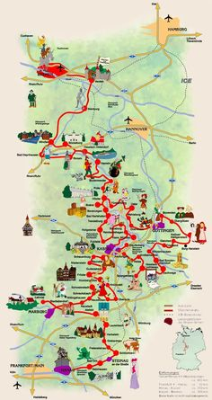çizgili masallar: Germany's Fairy Tale Road  -   A Grimm fairy tales map takes you to all the different towns related to the wonderful tales of the Brothers Grimm