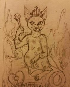 WIP The Empress #wip #tarotcards #cat #abyssinian by brandiefarkas