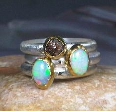Rough opal and diamond stacking rings. Je veux. - pretty!