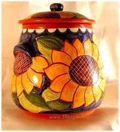 Kansas Sunflowers Hand painted pottery cookware from Portugal Hand Painted Pottery, Pottery Painting, Hand Painted Ceramics, Ceramic Painting, Painted Porcelain, Ceramic Cookie Jar, Ceramic Jars, Ceramic Pottery, Pottery Art