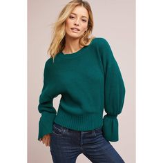 Moth Well-Cuffed Sweater ($50) ❤ liked on Polyvore featuring tops, sweaters, green, blue pullover, green top, bell sleeve sweaters, butterfly tops and butterfly print top