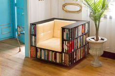13 clever bookshelves, including this two-in-one chair.