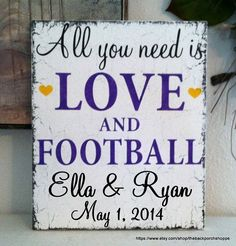 Do you think Julia can do this? Black lettering & to say sports instead oh & redhearts too Football Wedding, Sports Wedding, Wedding Pics, Wedding Themes, Chic Wedding, Fall Wedding, Our Wedding, Dream Wedding, Themed Weddings