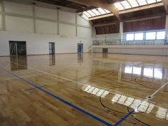 The #surface in #parquet of the #indoor stadium was treated with three cycles of #skating paint