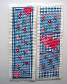 Twilleys Heart Medley cross stitch bookmarks.
