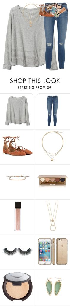 """spring break y'all"" by classynsouthern ❤ liked on Polyvore featuring Gap, Frame, Aquazzura, Gorjana, Jane Iredale, Jouer, Kate Spade, Speck, Becca and Kendra Scott"