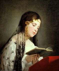 Frederic von Amerling (1803-1887) portrait of a girl with a book