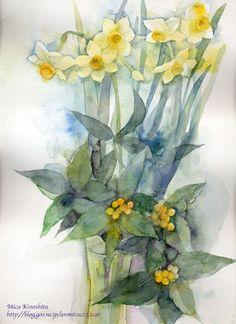 为什么春天过去,花朵依旧盛开? - 飞乐鸟文章 Watercolor Flowers, Watercolor Paintings, Painting Flowers, Watercolors, Botanical Art, Paint Colors, Glass Vase, Mixed Media, Projects To Try