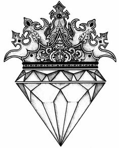 The diamond drawing ideas on tattoos jpg 2 - Clipartix diamond drawing - Drawing Tips Diamond Tattoo Designs, Crown Tattoo Design, Diamond Tattoos, Diamond Crown Tattoo, Queen Crown Tattoo, Mini Tattoos, Body Art Tattoos, New Tattoos, Sleeve Tattoos