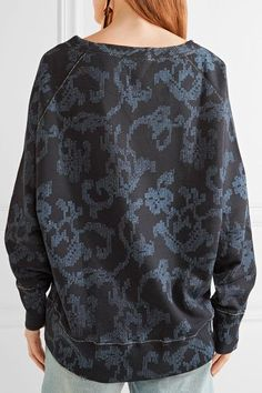 rag & bone - Max Oversized Printed French Cotton-terry Sweatshirt - Indigo - x small
