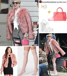 """Buy Emma Roberts' """"Scream Queens"""" Star and Pearl Earrings, Pink PVC Purse, White Sandals, Pink Faux Fur Coat, and Pink Knee Socks, here!"""