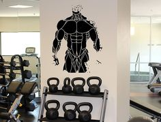 Male Body Muscles Wall Decal Athletic Fitness Gym Sport Vinyl Sticker Home Wall Art Decor Ideas Interior Removable Design 12(fmf) >>> Visit the image link more details.