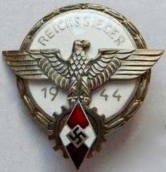 REICHSSIEGER 1944 HITLERJUGEND NSDAP BADGE GERMAN WW2 PRICE $49