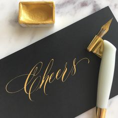 That gold on black! And that C! #newyearseve #nye #nye2017 #bringon2018 #calligraphy #handlettering #pointedpen