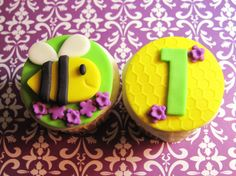 Bumblebee and Fondant Flowers Cupcake Toppers  Honey bee with Honeycomb Birthday Fondant Cupcake Toppers