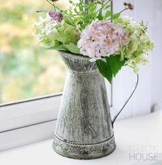 Rustic Jug/Churn Zinc Tin Metal Flower Pitcher Vase Vintage Country Shabby Chic