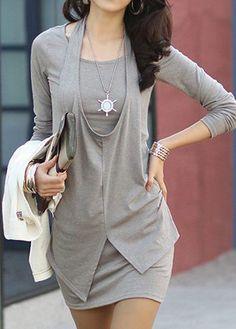 rotita.com - unsigned Long Sleeve Halter Neck Grey Sheath Dress - AdoreWe.com