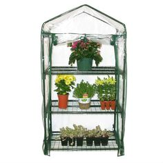 3-Tier Plastic Growing Rack Planter Stand Greenhouse with Thermal Cover - Quality House